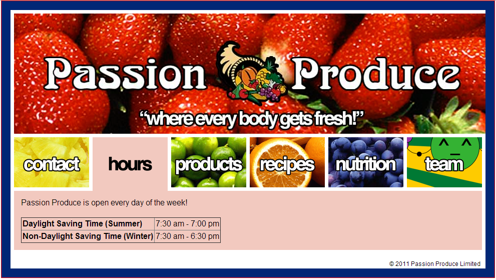 A screenshot of the former passionproduce.co.nz website as of 2011.