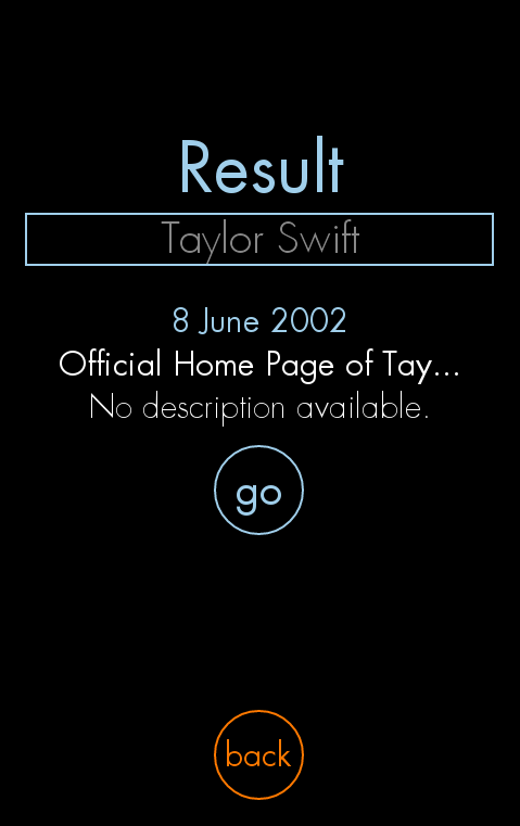 "FirstMention successfully shows a result for the query ""Taylor Swift"" from 2002."