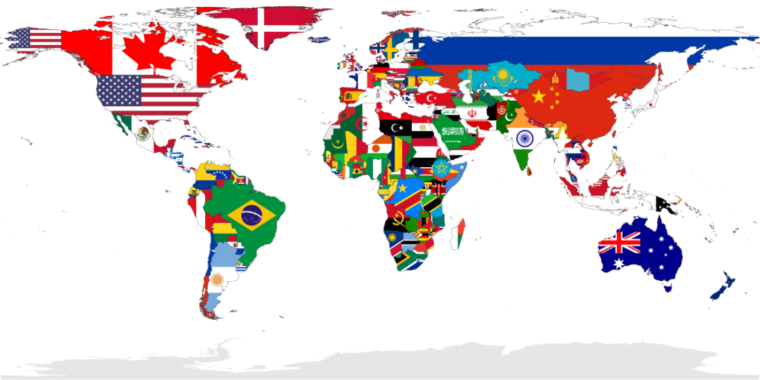 Flag-map of the world from Wikimedia Commons