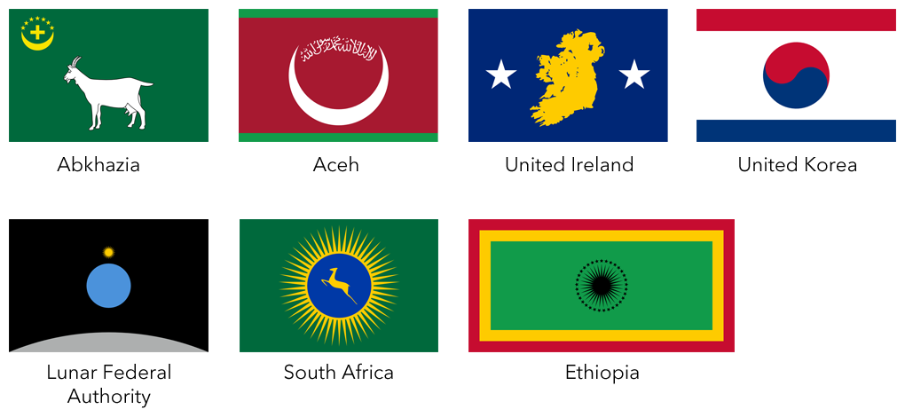 A selection of flags I designed for the NeuroSpasta role-playing game.