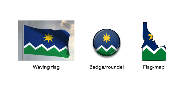 Mock-ups of the proposed flag of Idaho