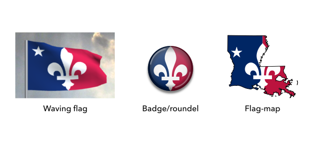 Mock-ups of the proposed flag of Louisiana