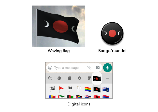 Mock-ups for the proposed flag of Mars