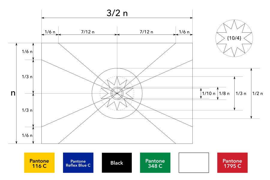 Construction sheet of the proposed flag of Mozambique / Ficha de construção da bandeira proposta de Moçambique