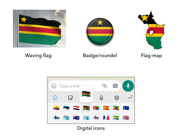Mock-ups of the proposed flag of the East African Federation