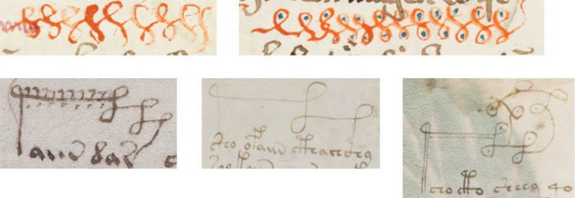 Top: Loop doodles in Cod. Sang. 754. Bottom: Ornate gallows in the Voynich Manuscript.