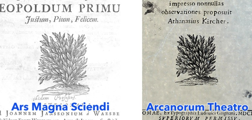 Identical bush emblem in Ars Magna Sciendi (left) and Arcanorum Theatro (right).