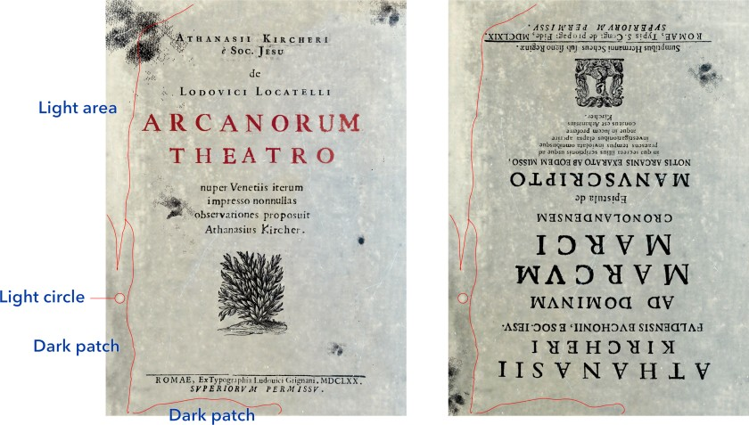 Comparison of the backgrounds of the Kircher booklets, with one flipped upside down. Click on image for full size.