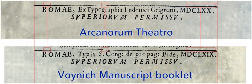 Comparison of the footers of the Kircher booklets. Click on image for full size.