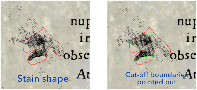Close up of stain in left of Arcanorum Theatro with shape (red) and cut-off boundaries (green) indicated.