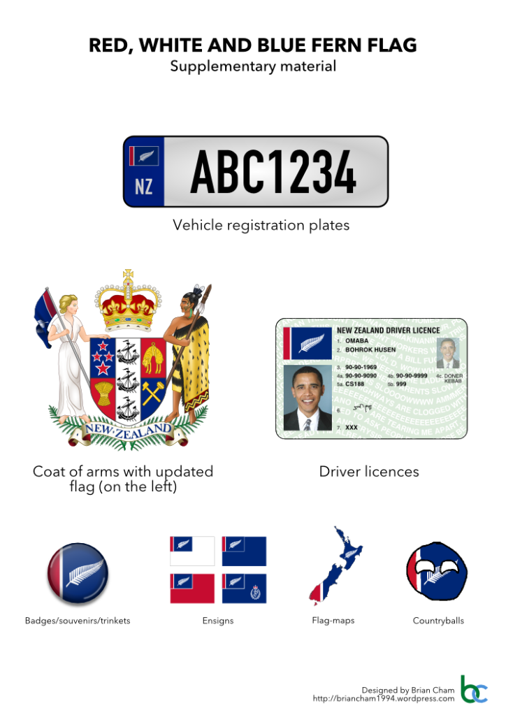 Figure 3. Supplementary material previews for Red, White and Blue Fern Flag. New Zealand coat of arms, emblem of the New Zealand Police Force and portrait of Barack Obama are in the public domain.