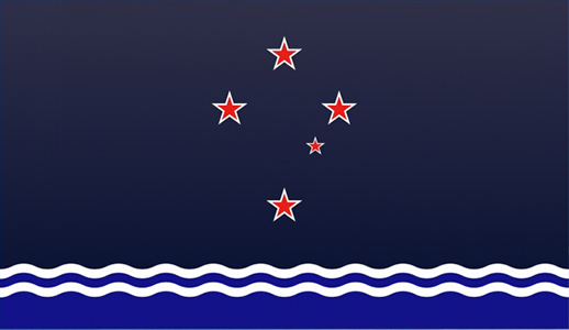 Red Southern Cross Over the Pacific. Designed by: Christopher Heath.