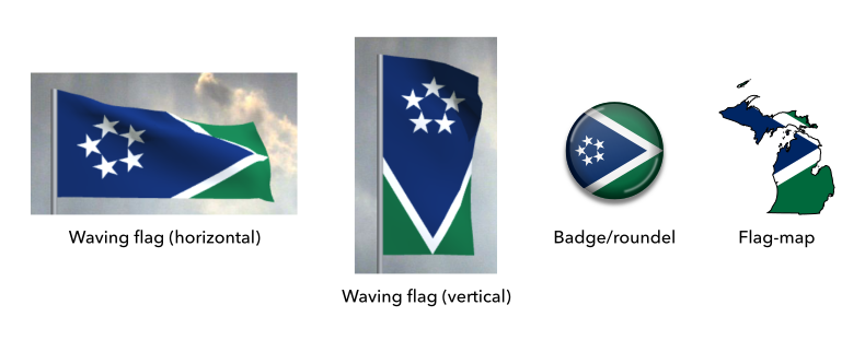 Mock-ups of the proposed flag of Michigan