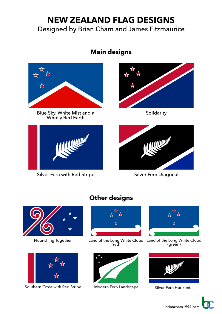 Proposed flags of New Zealand by Brian Cham and James Fitzmaurice.