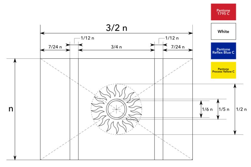 Construction sheet of the proposed flag of New Caledonia / Fiche de construction du drapeau proposé de la Nouvelle-Calédonie