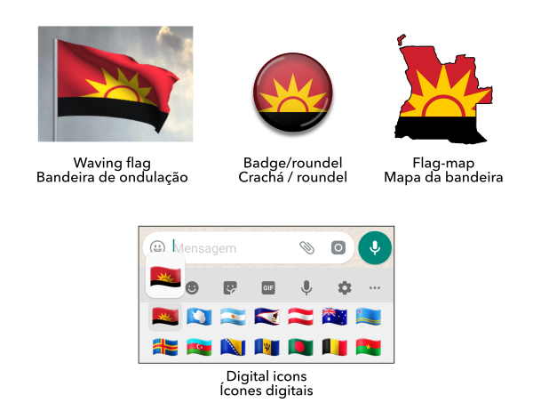 Mock-ups of the proposed flag of Angola / Maquetes da bandeira proposta de Angola